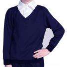 Обманка синий джемпер белая рубашка