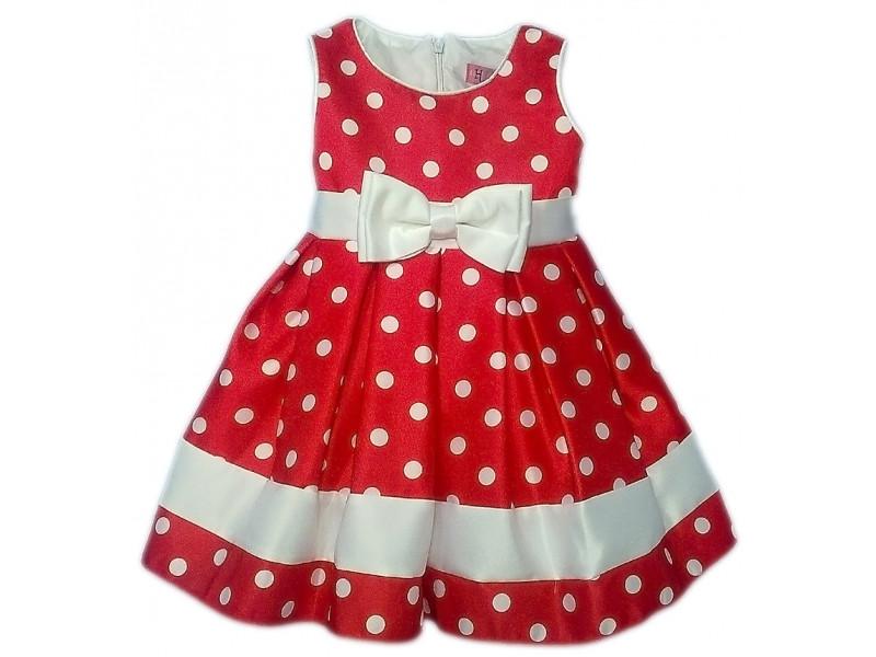 a52135c1d72 Детское красное платье в белый горошек